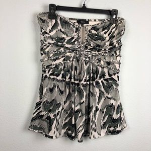 Sky strapless black and white empire waist top